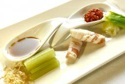 山菜3種の冷製と<br /> 2種のもろ味噌