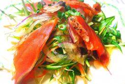 鮭と水菜のサラダ