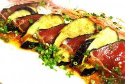 わら焼カツオと揚げ茄子の柚子ポン酢