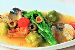 北海アイナメと春野菜のアクアパッツァ風