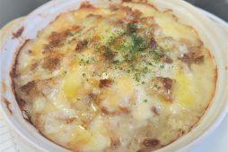 豚ひき肉と長芋の和風味噌グラタン