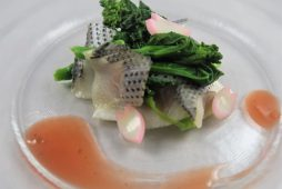 コハダりんご酢漬けと菜の花の梅ソース